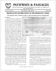 Finding Little Known Pieces of the Genealogy Puzzle