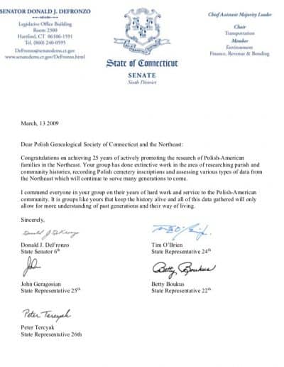 Donald DeFronzo letter to PGSCTNE